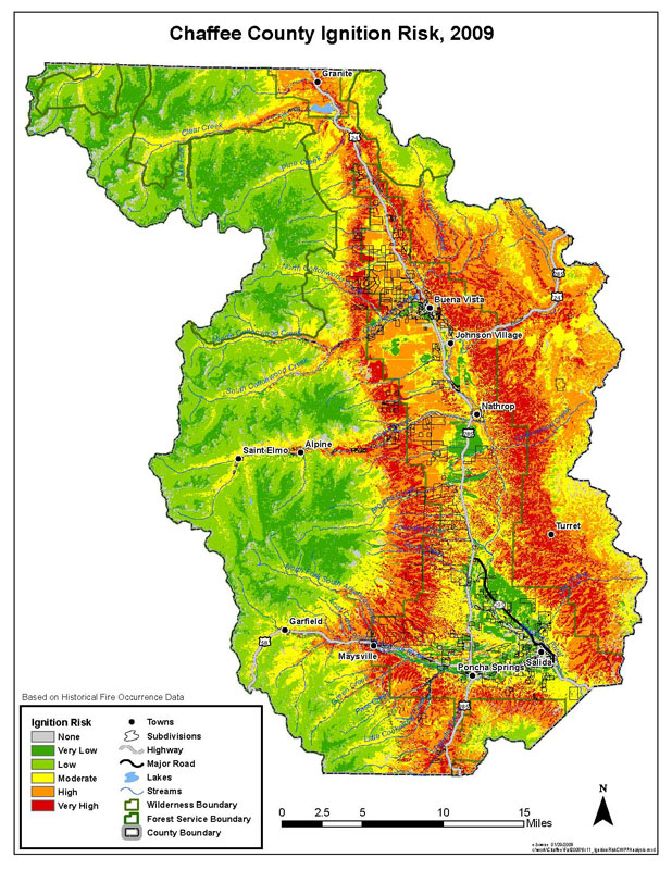 Chaffee County CWPP Ignition Risk Map, based on historical fire occurrence data.