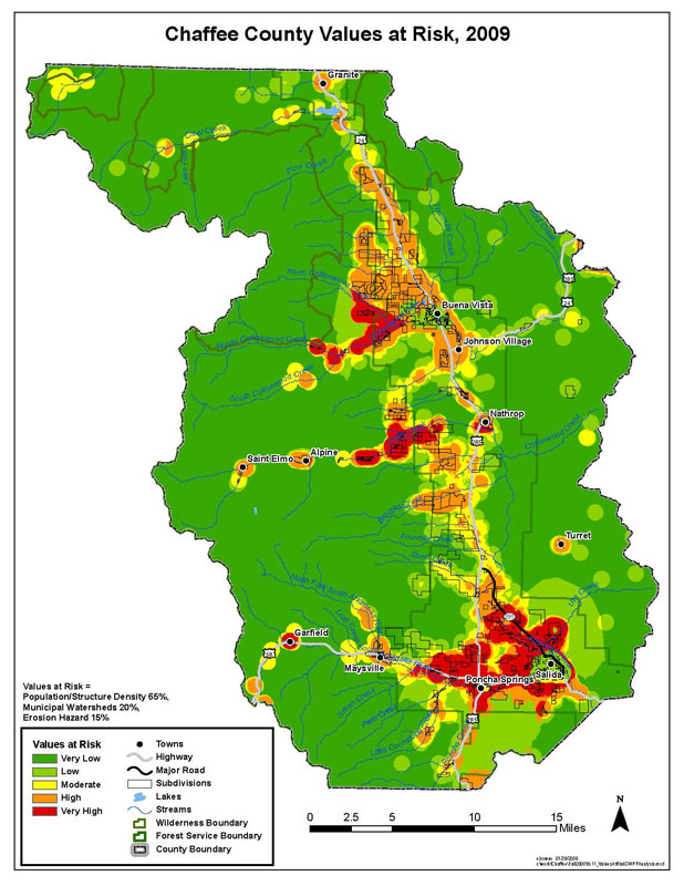 Chaffee County CWPP Values at Risk  Map, weighted for population/structure density, 65%; municipal watersheds, 20%; and erosion hazard, 15%.