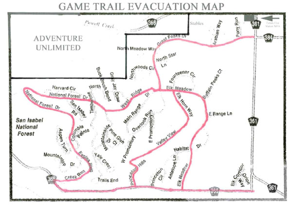 Game Trail Evacuation Map